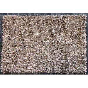 TODAY - tapis salle de bain à mèche beige - Alfombra De Baño