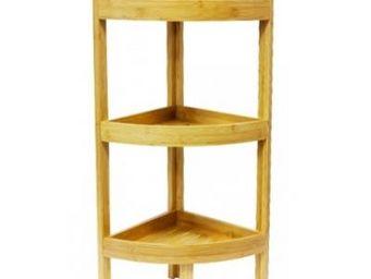 Fomax - etagère d'angle à 3 niveaux en bambou - Estantería De Cuarto De Baño