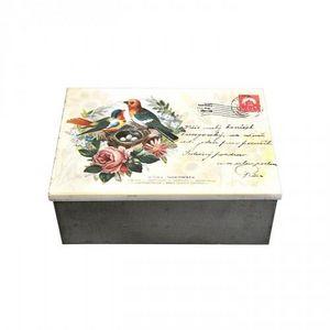Demeure et Jardin - boîte rectangulaire rétro en fer - Caja Decorativa