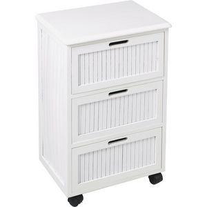 Aubry-Gaspard - commode blanche 3 tiroirs - Mueble De Estanterías Móvil
