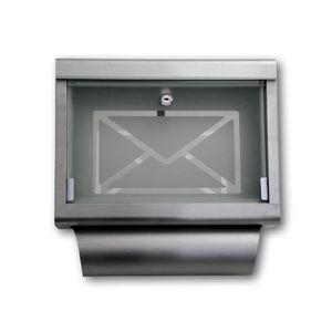 WHITE LABEL - boite aux lettres murale porte en verre - Buzón
