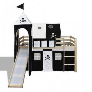 WHITE LABEL - lit mezzanine bois avec échelle toboggan et déco noir - Cama Para Niño