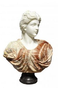 Demeure et Jardin - buste jeune femme chevelure retenue marbre blanc e - Busto