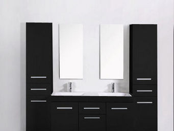 UsiRama.com - meuble double vasques think noir 2 colones 1.8m - Mueble De Baño Dos Senos