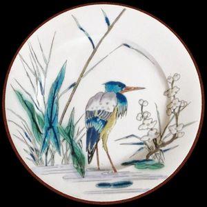 Au Bain Marie - assiette en tôle vieillard héron - Plato Decorativo