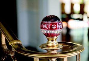 IGS deco -  cristal doublé rouge ciselé main - Bola Remate De Escalera