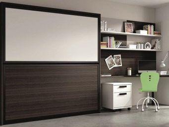 WHITE LABEL - armoire lit superpos�e transversale avec bureau et - Armario Cama