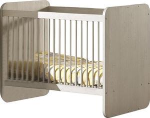 WHITE LABEL - lit bébé évolutif moderne coloris chêne gris doux - Cuna