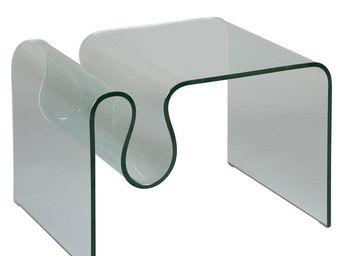 WHITE LABEL - porte-revues en verre - clean - l 60 x l 50 x h 45 - Revistero