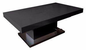 WHITE LABEL - table basse relevable extensible setup noir brilla - Mesa De Centro De Altura Regulable