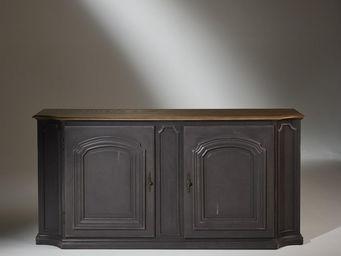 Robin des bois - buffet plateau chêne, 2 portes, patine shabby anth - Aparador Bajo