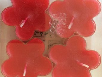 WENZEL-KERZEN - bougie fleur chauffe plat wenzel x4 rouge - Vela Calientaplatos