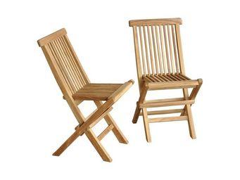 BOIS DESSUS BOIS DESSOUS - lot de 2 chaises pour enfant en bois de teck midla - Silla De Jardín Plegable