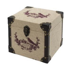 CHEMIN DE CAMPAGNE - coffre malle de rangement bois toile de jute 25x25 - Baúl