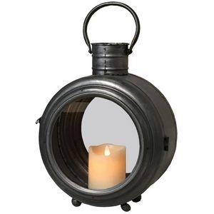 CHEMIN DE CAMPAGNE - lanterne tempête style phare en métal fer 33 cm - Linterna