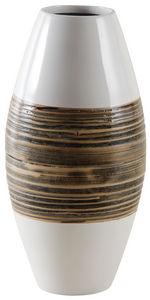 AUBRY GASPARD - vase en bambou naturel et laqué blanc - Jarrón