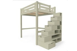ABC MEUBLES - abc meubles - lit mezzanine alpage bois + escalier cube hauteur réglable moka 140x200 - Otro Varios Dormitorio