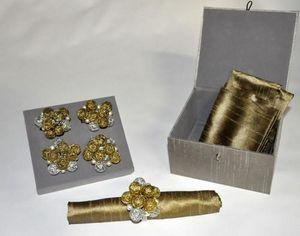 Demeure et Jardin - coffret rond de serviette bulles or et argent - Servilletero