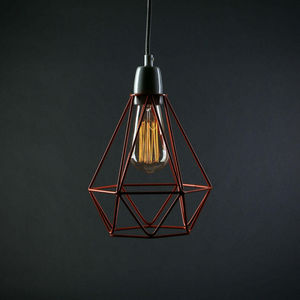 Filament Style - diamond 1 - suspension orange câble gris ø18cm | l - Lámpara Colgante