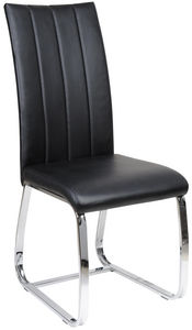 COMFORIUM - chaise de table simili cuir noir - Silla