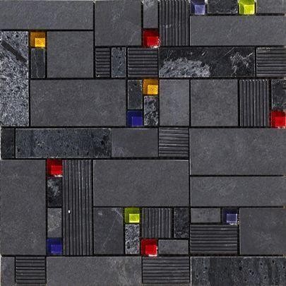 Vives Azulejos y Gres - Azulejos para pared-Vives Azulejos y Gres-Satinados Mosaico Taki Negro 30x30cm