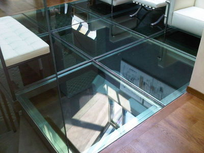 TRESCALINI - Tarima de vidrio-TRESCALINI-plancher, sol en verre (structure inox brossé)