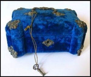 Art & Antiques - coffret à bijoux bleu royal et bronze xixe - Cofanetto Portagioie
