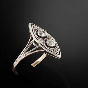 Expertissim - bague marquise en or ornée de diamants - Anello