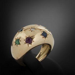 Expertissim - bague boule en or, diamant, saphirs, rubis et émer - Anello