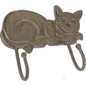 Aubry-Gaspard - patère chat en métal vieilli - Appendiabiti Da Parete