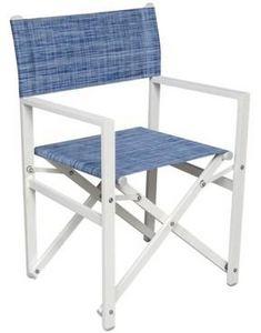 PROLOISIRS - fauteuil régisseur en aluminium et textilène jean - Poltrona Da Giardino