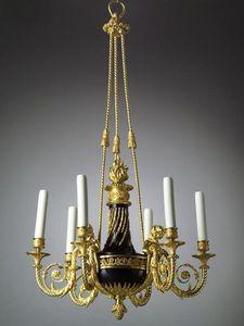 Bauermeister Antiquités - Expertise - lustre à six lumières de style louis xvi - Lampadario