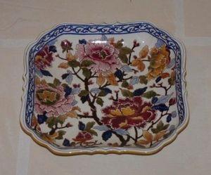Art & Antiques - plat carré en gien - Piatto Per Olive