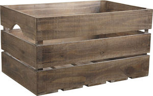 Aubry-Gaspard - caisse en bois vieilli ancienne 55x36x30cm - Cassa Per Bottiglie