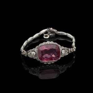Expertissim - bracelet en platine orné d'une tourmaline rose et - Braccialetto