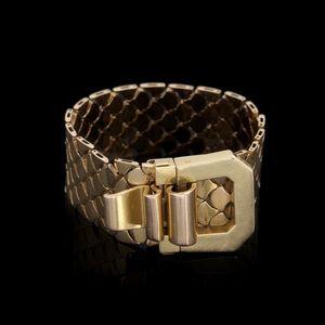 Expertissim - bracelet ruban en or à décor simulant des écailles - Braccialetto