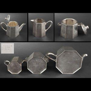 Expertissim - ercuis. service à thé à pans coupés en métal argen - Servizio Da Tè