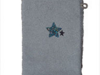 SIRETEX - SENSEI - gant 16x22 brodé 500 gr/m² star gris - Guanto Da Bagno