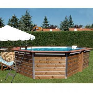 Christaline - piscine bois octogonale allonge classique gold 580 - Piscina Sopraelevata In Legno