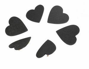WHITE LABEL - lot de 6 marques plat ardoise avec pince bois coeu - Segnaposto