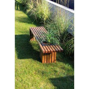 JARDIPOLYS - banc de jardin bois avec bac à fleur jardipolys - Panchina Da Giardino