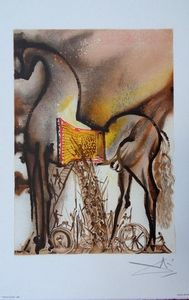 ARMAND ISRAËL - cheval troie de salvador dali lithograph - Litografia