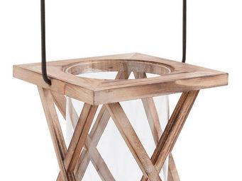 Aubry-Gaspard - lanterne photophore en bois et verre 18x18x22-42cm - Lanterna