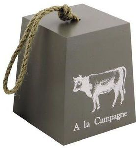 Aubry-Gaspard - cale-porte en bois a la campagne motif vache 14x14 - Fermaporta