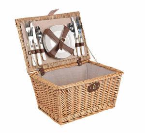 Aubry-Gaspard - panier de pique-nique 4 couverts en osier teinté - Cestino Da Picnic