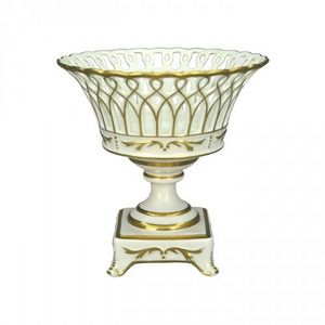Demeure et Jardin - coupe en porcelaine socle ajouree blanche et or - Coppa Decorativa