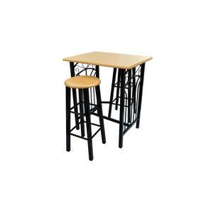 WHITE LABEL - lot de 2 tabourets de bar + table haute - Tavolino Alto
