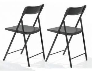 WHITE LABEL - lot de 2 chaises pliantes kully gris graphite - Sedia Pieghevole
