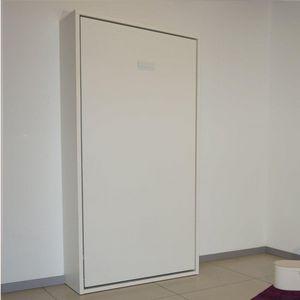 WHITE LABEL - armoire lit escamotable smart blanc mat couchage 9 - Letto A Scomparsa