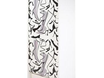 WHITE LABEL - meuble à chaussures à rideau blanc - shoes n°2 - l - Scarpiera